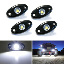 4Pcs Universal Fit  9W High Power LED Rock Light Kit Underbody Glow Trail Rig Lamp For Jeep Truck SUV Off-Road Boat Xenon White