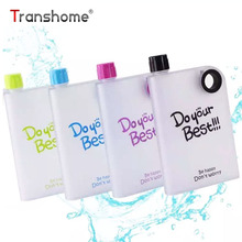 Transhome Creative Paper Plastic Bottles 380ml Bottle For Water Scrub A5 Notebook Flat Water Bottle For Outdoor Sports Cycling(China)