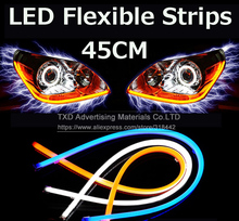 2PCS 45CM Free shipping! TXD Car DRL LED Daytime Running Soft Tears headlight Strips Steering Lights xenon white LED LIGHT