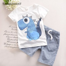 TANGUOANT Hot Sale Brand Boys Clothing Children Summer Boys Clothes Cartoon Kids Boy Clothing Set T-shit+Pants Cotton(China)