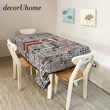 decorUhome Polyester Waterproof Rectangle Tablecloths Retro Cartoon Words Leaves Oilproof Table Cloth Home Banquet Table Covers