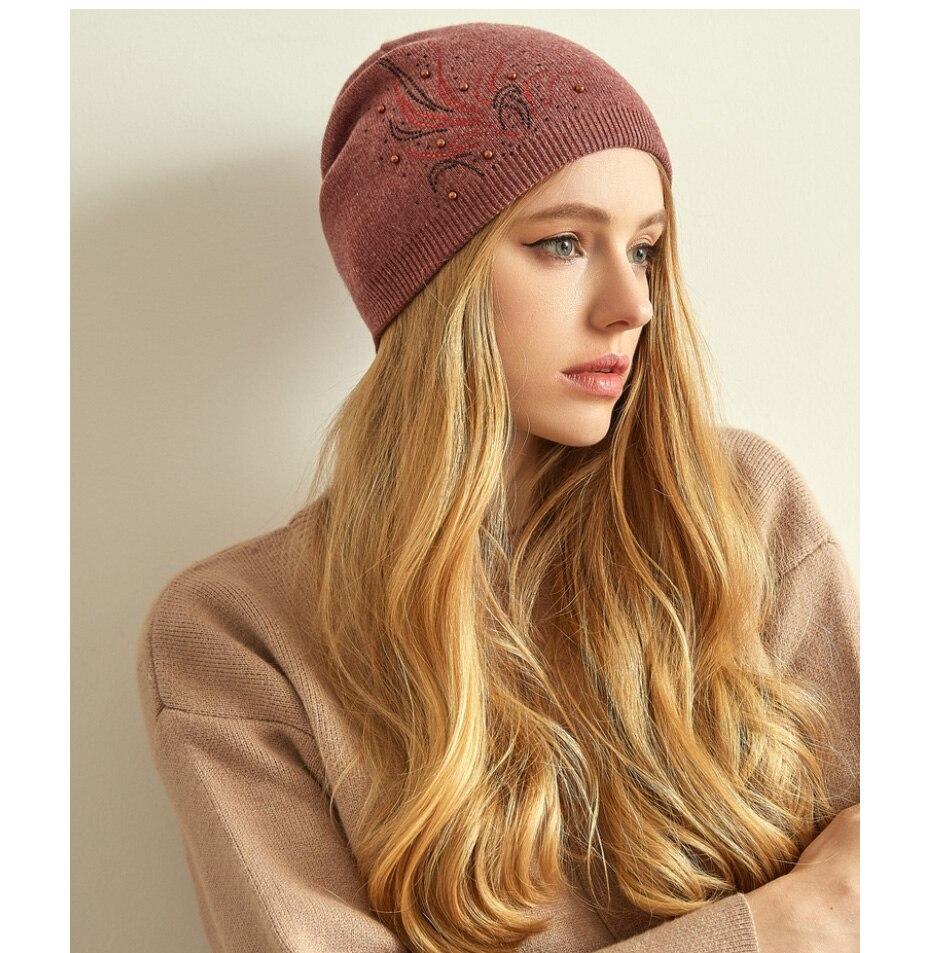 قبعات صوف للنساءبالوان متعددة 13