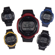 Unisex English Letter Round Dial Digital Waterproof Diving Sport Solar Power Watch 0405 for students and sports men