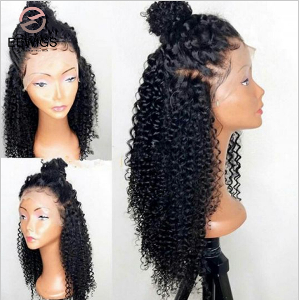 EEWIGS Black Baby-Hair Heat-Resistant Lace-Front Synthetic Long 180%Density Glueless title=