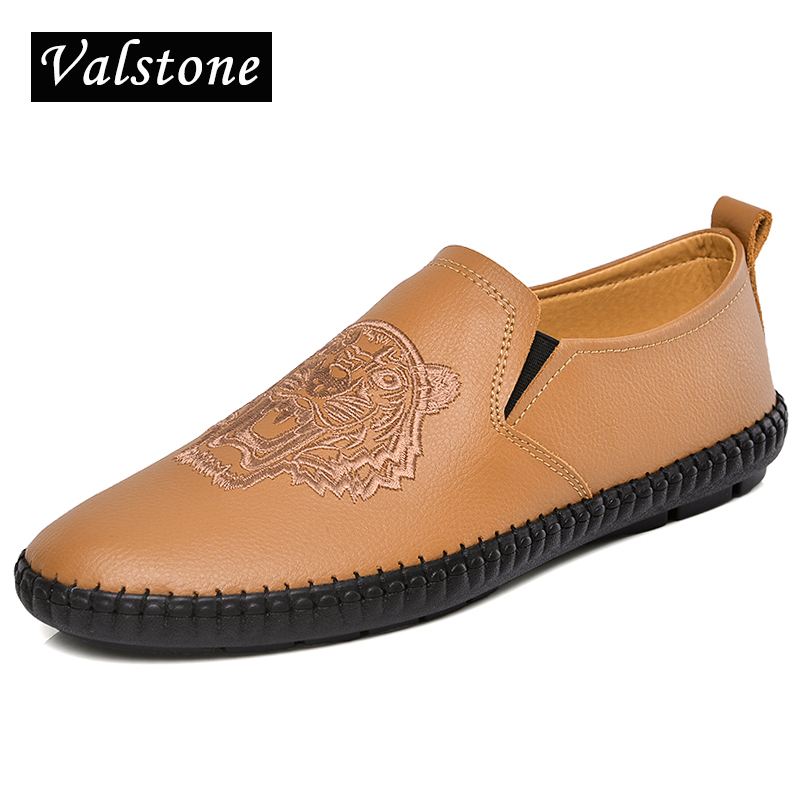 Valstone 2018 Quality handtailor Genuine Leather casual shoes men Slip-on loafers soft moccasins Tiger parrern Chinoiserie black<br>