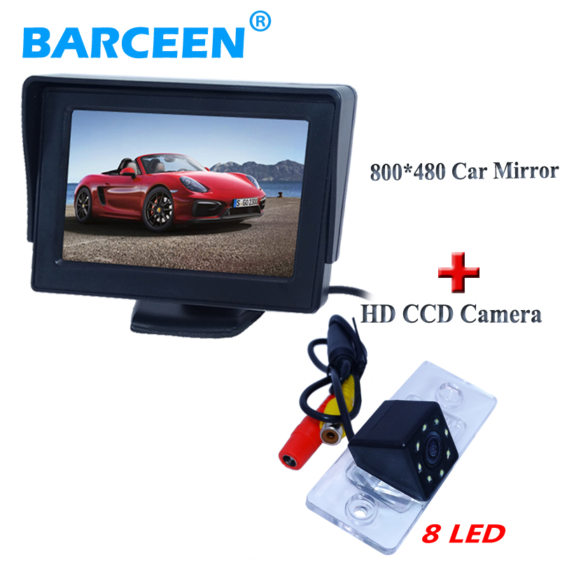 "8 led lights car parking camera with 4.3""car rear monitor bring 4.3"" wide LCD screen for VW Touareg/old Passat /Polo Sedan(China)"