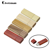 Hot Selling Wooden Bamboo USB Flash Drive Pen Drives Wood Chip Pendrive 4GB 8GB 16GB 32GB Memory Stick U Disk With Keychain Gift(China)