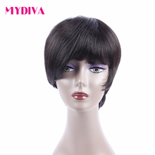 Mydiva Brazilian Non-remy Human Hair 130% Density Natural Wave None Lace Wig With Baby Hair For Black Woman Black/99j Burgundy(China)