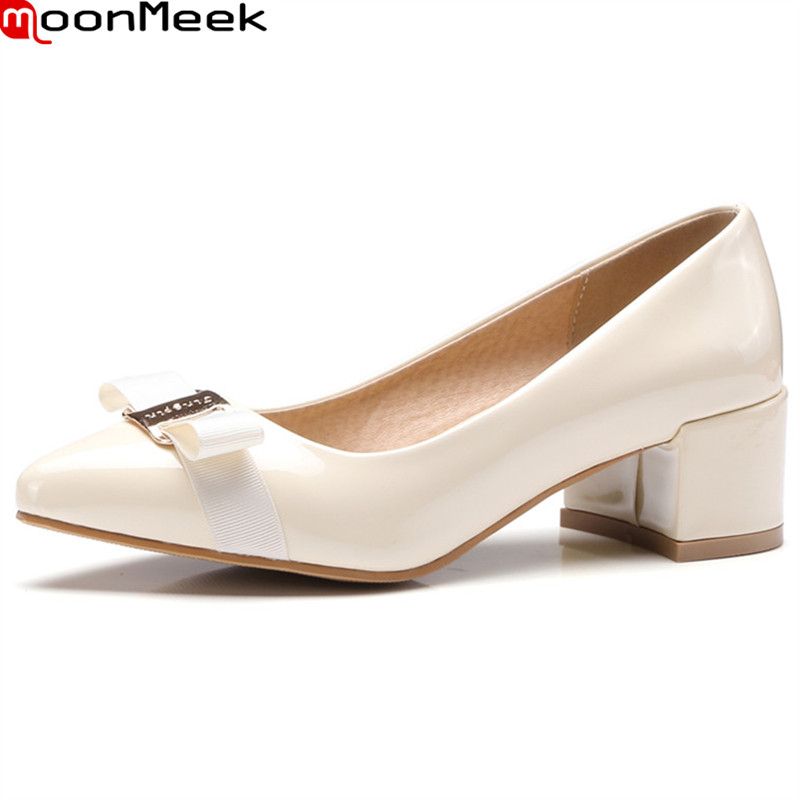 MoonMeek new arrive spring summer female pumps high heels pointed toe square heel with butterfly knot sweet pumps women shoes<br>