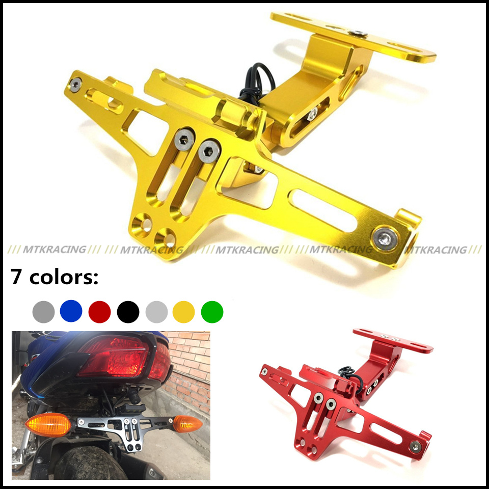 Motorcycle Universal motorbike Adjustable Angle Aluminum License Number Plate Frame Holder Bracket For Yamaha XJ6 TMAX 500 530<br>