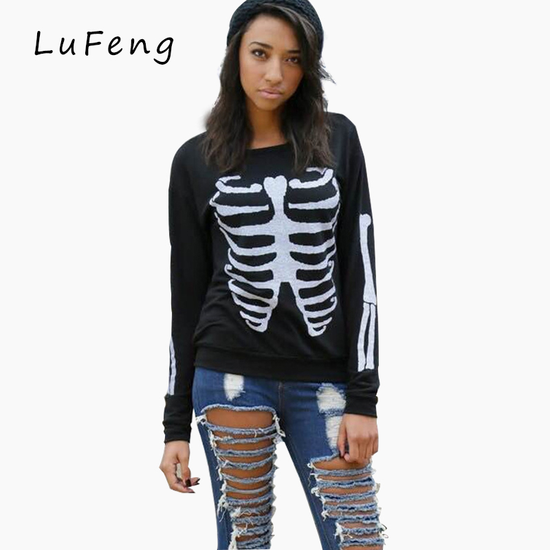 Skeleton Print T Shirt Women Tumblr Punk Got7 Hips...