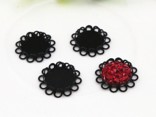 14pcs 12mm Inner Size Black  Plated Brass Material Simple Style Cabochon Base Cameo Setting Charms Pendant Tray (A2-18)