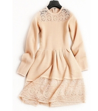 High End Dresses for Women Autumn Long Sleeve A-line O-neck Lace Knitted One Pieces Dresses apricot(China)