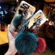 Hot Pearl Chain Pendant Fur Ball Mirror TPU Cases For Samsung Galaxy S8 S7 S6 Edge A5 A7 J5 J7 2016 2017 Bracelet Fundas Coque(China)