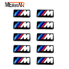 Car styling 10PCS Tec Sport Wheel Badge 3D M Emblem Sticker Wheel Decal Fit for BMW X1 X2 X3 M1 M3 M5 M6(0.71*0.39inch)