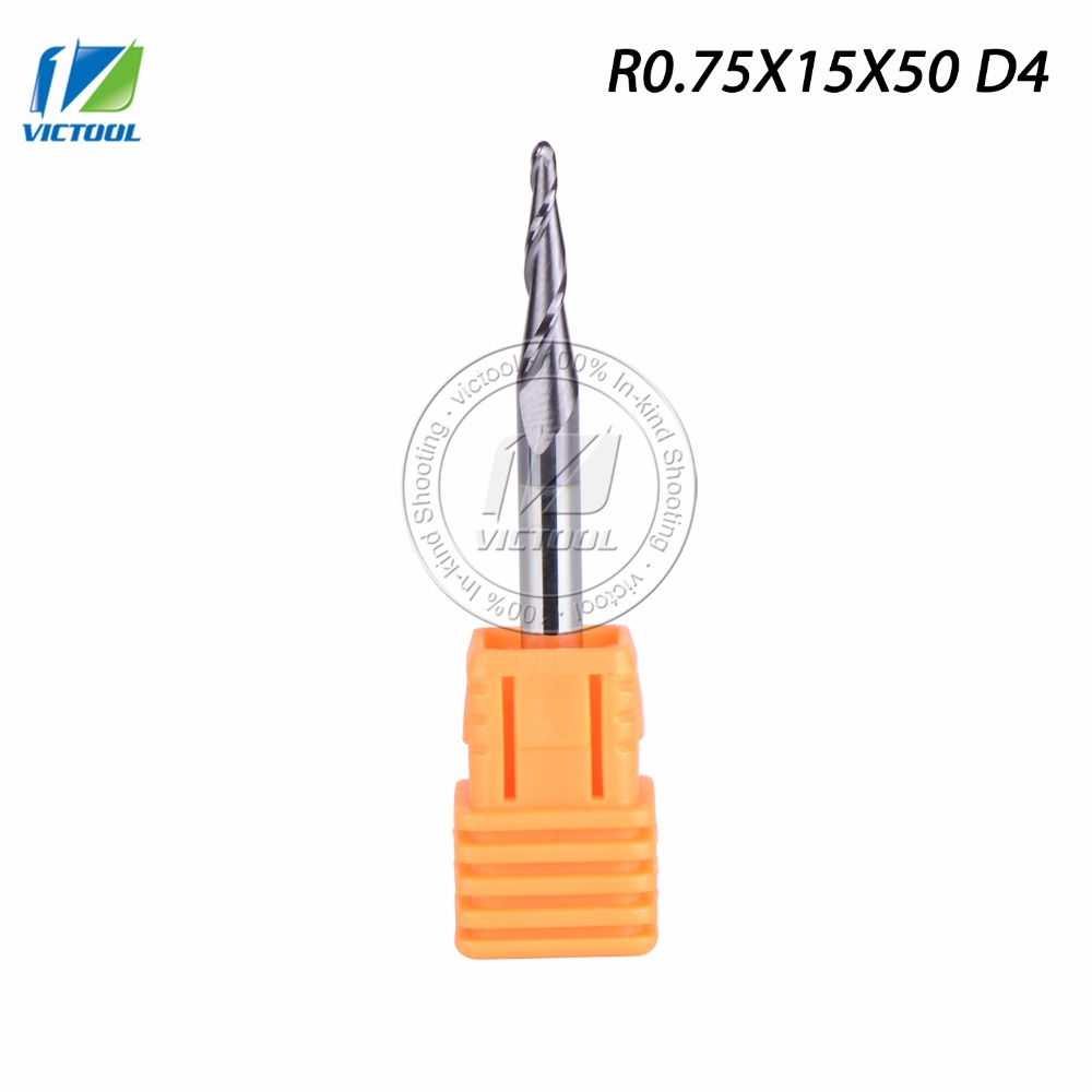 VICTOOL 5pcs/lot R0.75*D4*15*50L  Tungsten solid carbide Coated Tapered Taper Ball Nose End Mill cone type cnc milling cutter<br><br>Aliexpress
