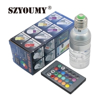 SZYOUMY 10SETS/LOT Excellent Quality E27 3W RGB LED 16 Color Changing Crystal Light Bulb Lamp With IR Remote Control(China)