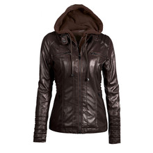 2017autumn and winter women's attachable hooded moto biker zipper up faux leather jackets PU juniors motorcycle jacket 6XL 7XL(China)