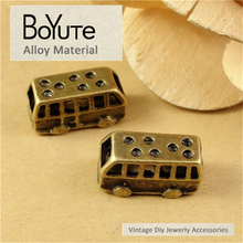 BoYuTe (60 Pieces/Lot) 19*8*10MM Zinc Alloy Materials Antique Bronze Plated Bus Pendant Diy Jewelry Accessories Wholesale(China)