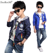 DuoRonMi Baby Boys Coat Spring 2017 Windbreaker Thin Jacket Children Outwear Toddler Boys Coats Boy Clothes Hooded Jacket