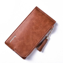 New arrival long ladies leather wallets female slim purse with cell phone pocket women coin purse money bag for woman
