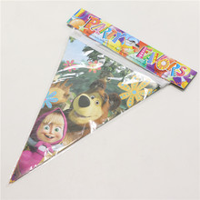 10 pc /line Birthday paper flags Cartoon theme bunting banners for baby boy birthday party decoration party favor flag