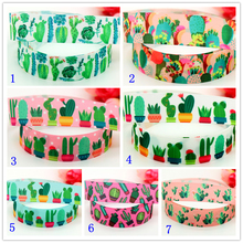 DHK 7/8'' Free shipping Cactus flowers printed grosgrain ribbon headwear hair bow diy party decoration OEM 22mm B1460(China)