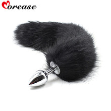 Sexy Toys Metal Fake Fur Fox Dog Tail Anal Plug Butt Plug BDSM Flirt Anus Plug For Women Adult Games Product For Couples(China)