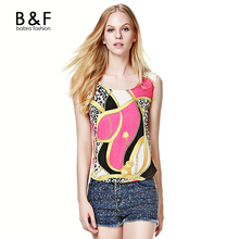 Marc& Steve Women Tank Top Summer  Ladies Colorful Print Round Neck Sleeveless Slim Casual Chiffon Shirts Tank Tops Feminia