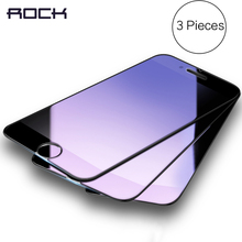 3 Pieces Tempered Glass for iPhone 6 7 plus, ROCK Anti-blue/High Clear Screen Protector Glass for iPhone 7 6 6s plus 3pcs set(China)