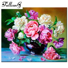 FULLCANG mosaic 5d diamond painting cross stitch peony diy full square diamond embroidery flowers painting home decor F023