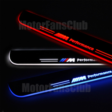 2PCS Stainless Steel Car LED Moving Front Door Scuff Plate Sill Guards Welcome Pedal For BMW Door Sill F10 5 Series 2010 - 2015