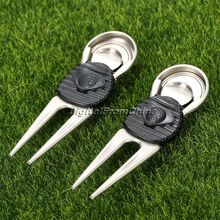 2Pcs Alloy Golf Club Ball Putting Green Fork Divot Lawn With Mark Golf Accessories Practical Golf Training Aids Sports(China)