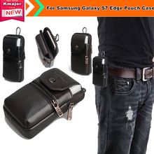 Genuine Leather Carry Belt Clip Pouch Waist Purse Case Cover for Samsung Galaxy S7 Edge Mobile Phone Bag Free Drop Shipping