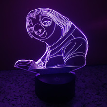 2016 new crazy animal City sloth colorful 3D lights LED 3D touch illusion lamp creative gift lamp