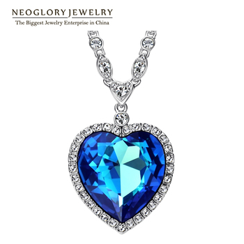 Neoglory Three Colors Big Austrian Crystal Titanic Heart Love Maxi Boho Choker Necklaces&Pendants for Women Fashion Jewelry 2017