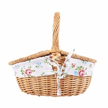 Wicker Camping Picnic Basket Shopping Storage Hamper with Lid and Handle Wooden Color