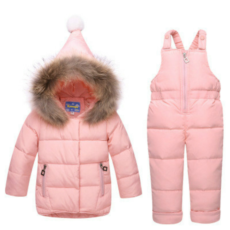 The Children Down Baby Infant Girls and Boys Suit Fur Collar Two Piece New Kids Down Jacket Sale<br>