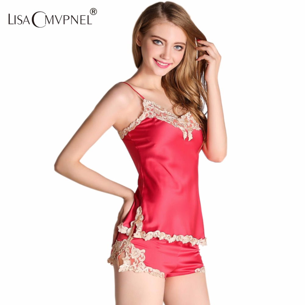 Lisacmvpnel Embroidery Lace Sexy Women Pajama Set Spaghetti Strap Nightdress+Shorts Set Elegant Sleepwear