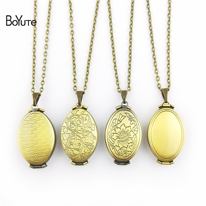 BoYuTe 1 Piece 70CM Chain 2033MM Oval Floating Locket Necklace Can Insert Photo Locket Pendant Necklace (4)