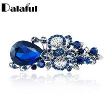 Women's Big Blue Crystal Flower Hairpin Hair Clip Headwear Barrette Hair Accessories For Woman Girls F111(China)