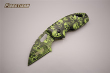 green skull outdoor camouflage survival hunting pocket knive tactical karambit knives folding stainless blade cold steel tool(China)