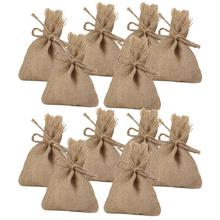 10PCS 14*10CM Small Hessian Drawstring Bags for Wedding Party Favor Gifts (Brown)(China)