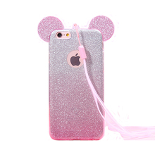 2017 Fashion cartoon animals candy color rainbow glitter mouse big ear lanyard hollow soft tpu cell phones case cover For Iphone