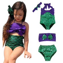 New 2017 Mermaid Girl's Two Pieces Tankini Summer Style Cute Swimwear For Children&Kid's Bikini Sets 2-6Y Swimsuit