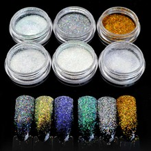 Shine Laser Holographic Glitter Powder Sugar Tinsel for Nails Dust Grinding Holographic Powder for Nails Art Holo Dipping SF2029