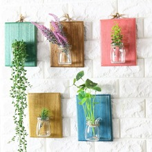 Free Shipping! Postral Style Glass & Wooden Wall Flower Pot Vase Vintage Wooden Wall Rack Hydroponic Plants Pot Wall & Home Deco
