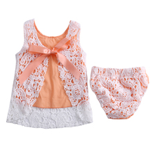 Newborn Baby Girls Clothes Sunsuit Lace Swing Tops Dress Briefs 2pcs Outfit Set Cute Bow Girl's Dress Set(China)