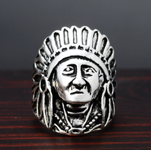 Buy Vintage Fashion Antique Silver Color Head Indian Chief Big Punk Rock Rings Zinc Alloy Rings Bague Men Anel R73 for $1.96 in AliExpress store