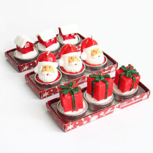 3pcs Pack Cute Christmas Party Xmas Eve Santa Claus Candles Gift Home Decoration House Cone Celebration Gifts(China)